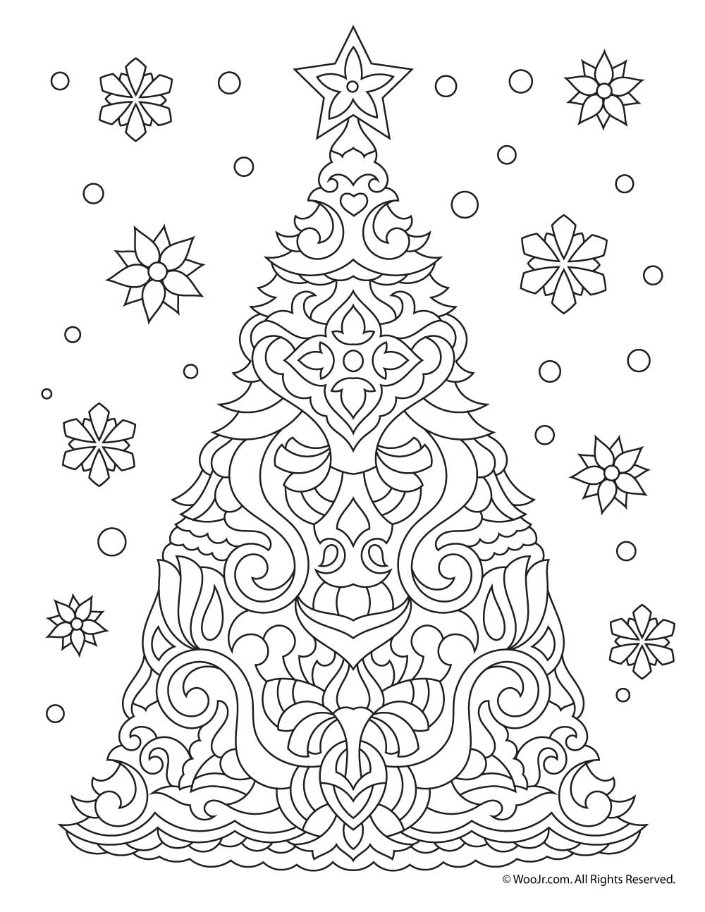 christmas tree adult coloring page woo jr kids activities