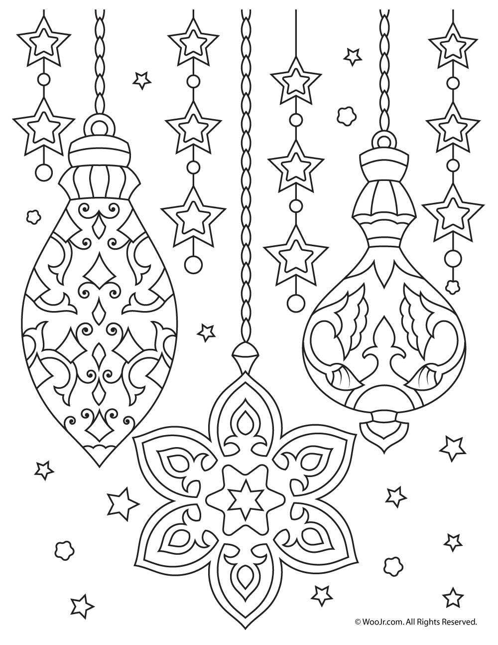 Christmas Ornaments Adult Coloring Printable Woo Jr