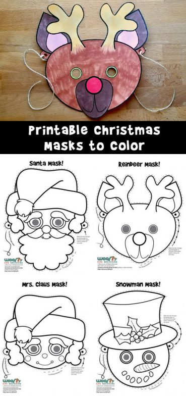 Christmas Printable Masks to Color