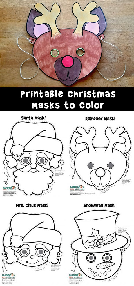 image regarding Printable Masks referred to as Xmas Printable Masks toward Coloration Woo! Jr. Children Functions