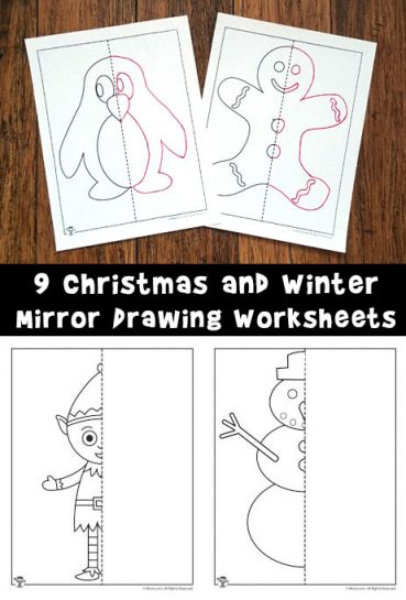Mirror Drawing Worksheets for Christmas and Winter