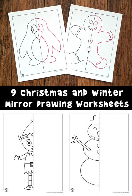 9 Christmas and Winter Mirror Drawing Worksheets