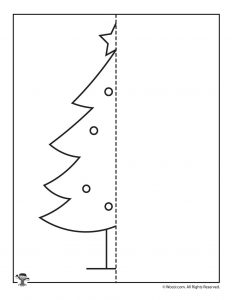 Christmas Tree Mirror Drawing Worksheet