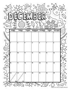 December 2018 Coloring Calendar Page
