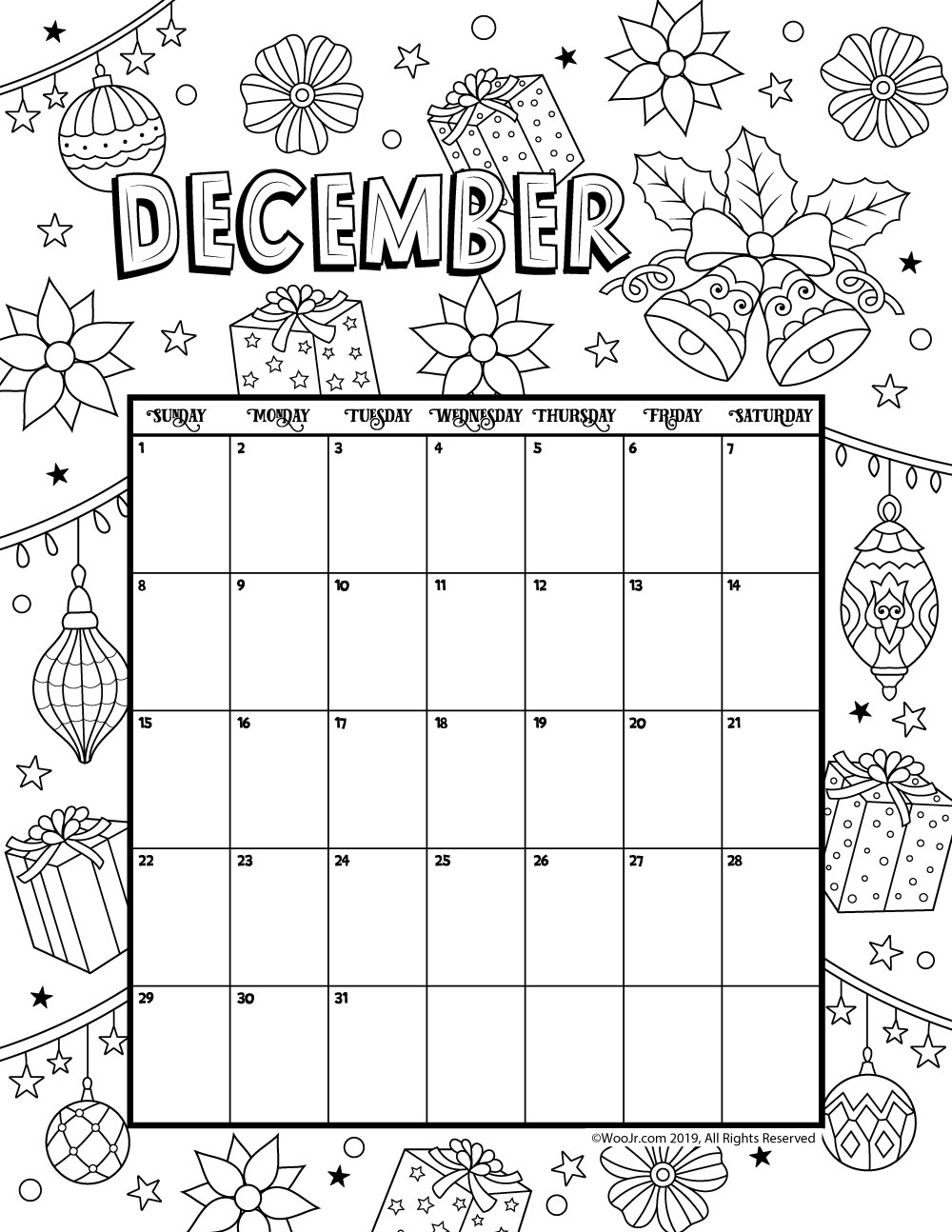 Printable Kids Calendar 2019 December December 2019 Coloring Calendar | Woo! Jr. Kids Activities