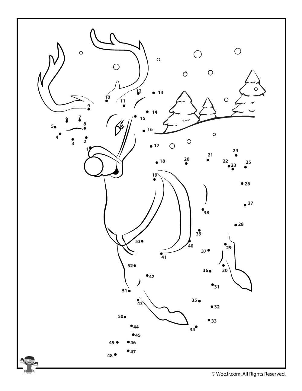 Reindeer Connect The Dots Worksheet Woo Jr Kids Activities