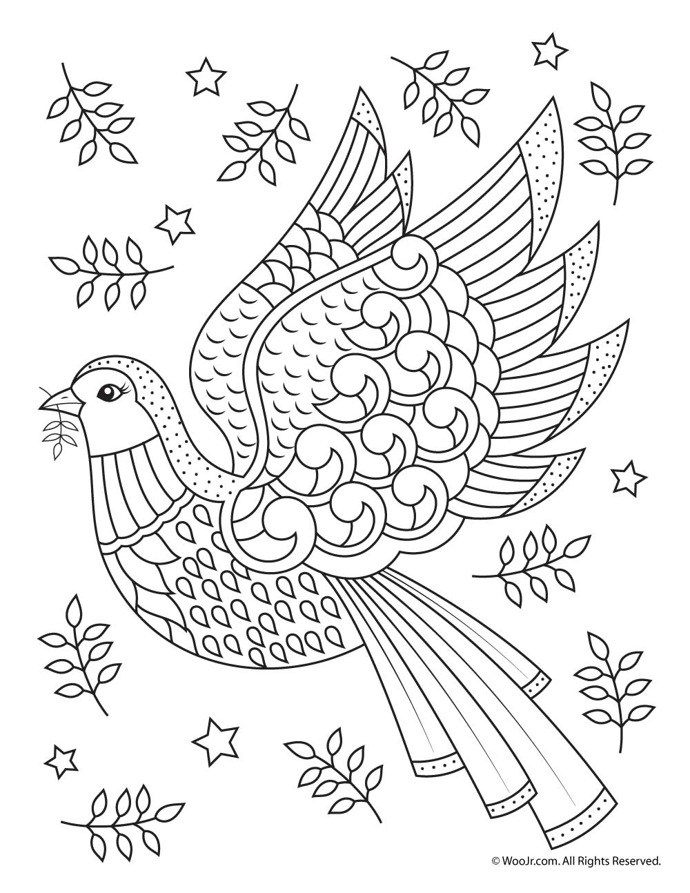 adult coloring page christmas dove - Coloring Stencils
