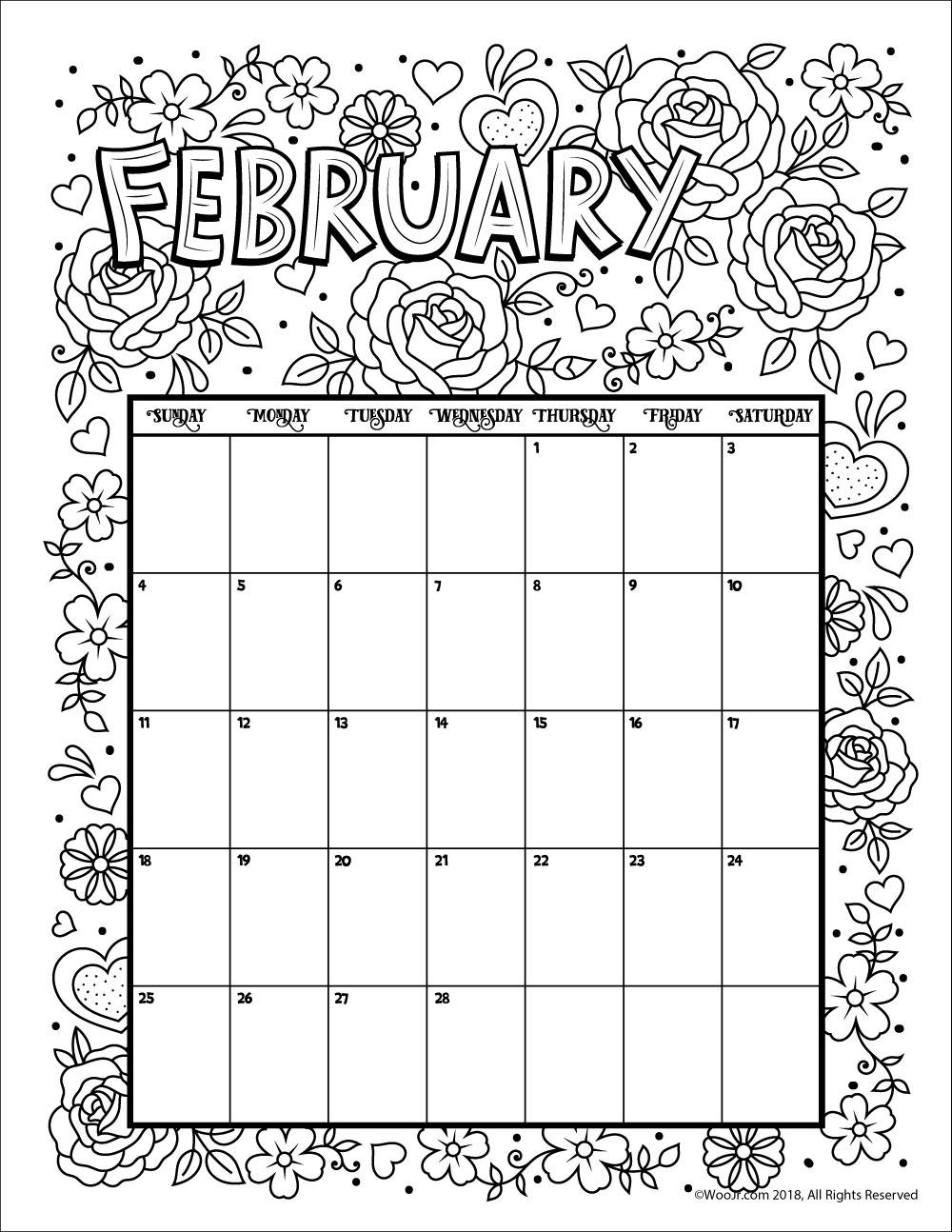 February 2018 Coloring Calendar Page - Woo! Jr. Kids Activities