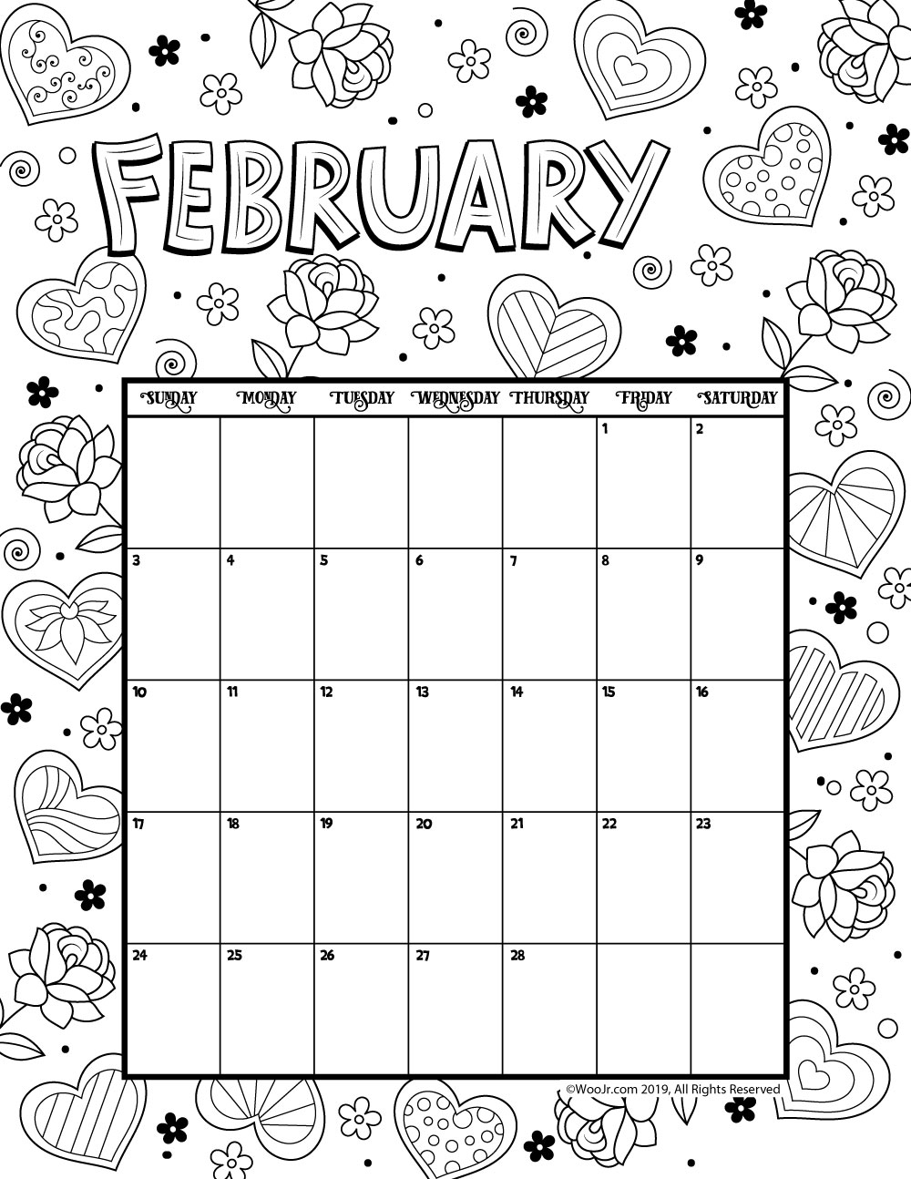 February Calendar 2019.February 2019 Coloring Calendar Woo Jr Kids Activities