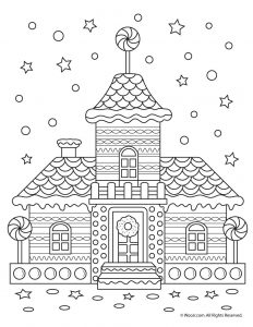 Gingerbread House Adult Coloring Page