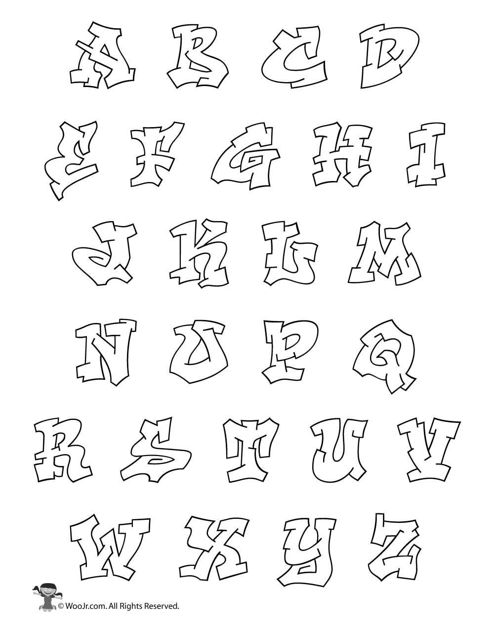 Printable Graffiti Bubble Letters Alphabet Woo Jr Kids Activities