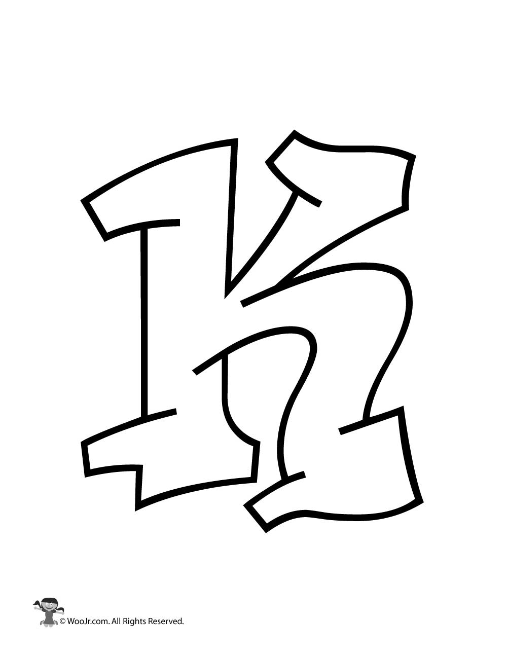 Letter K Graffiti Printable
