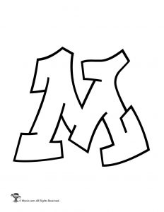 m in bubble letters printable graffiti letters alphabet woo jr 34045