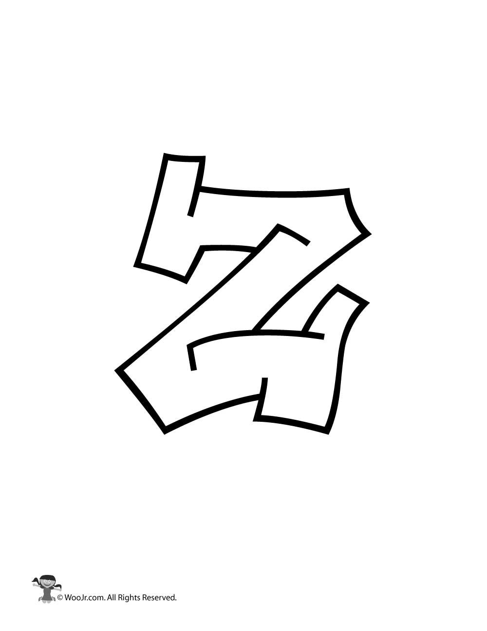 Graffiti lowercase letter z woo jr kids activities
