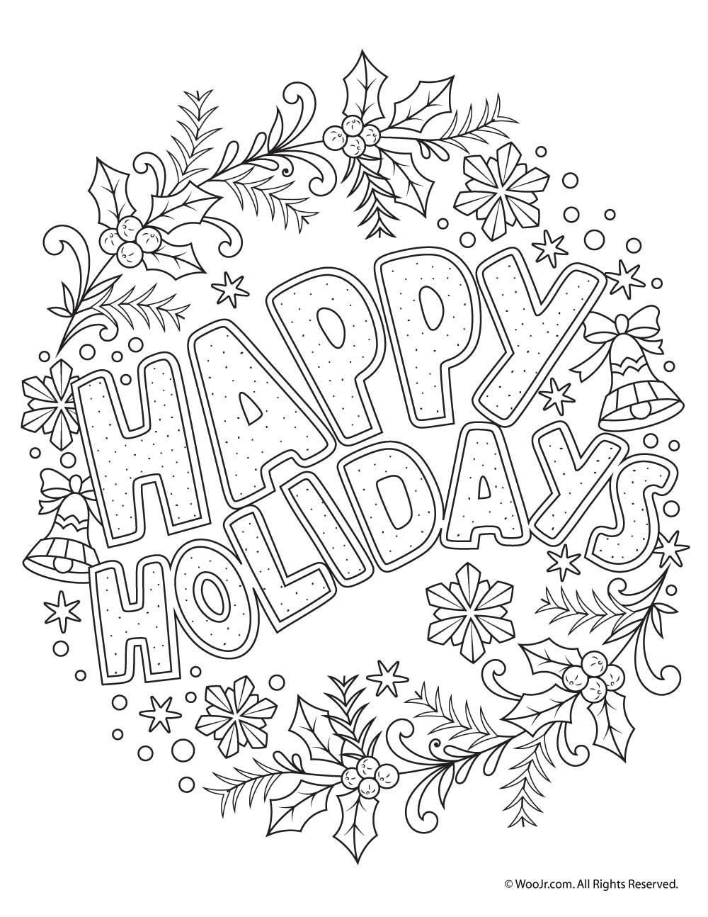 Happy Holidays Coloring Pages Happy Holidays Adult Coloring Freebie  Woo Jrkids Activities