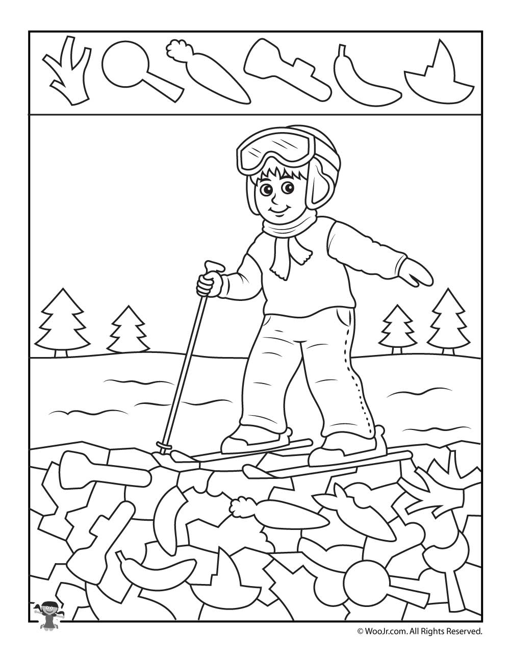Skiing Boy I Spy Worksheet | Woo! Jr. Kids Activities