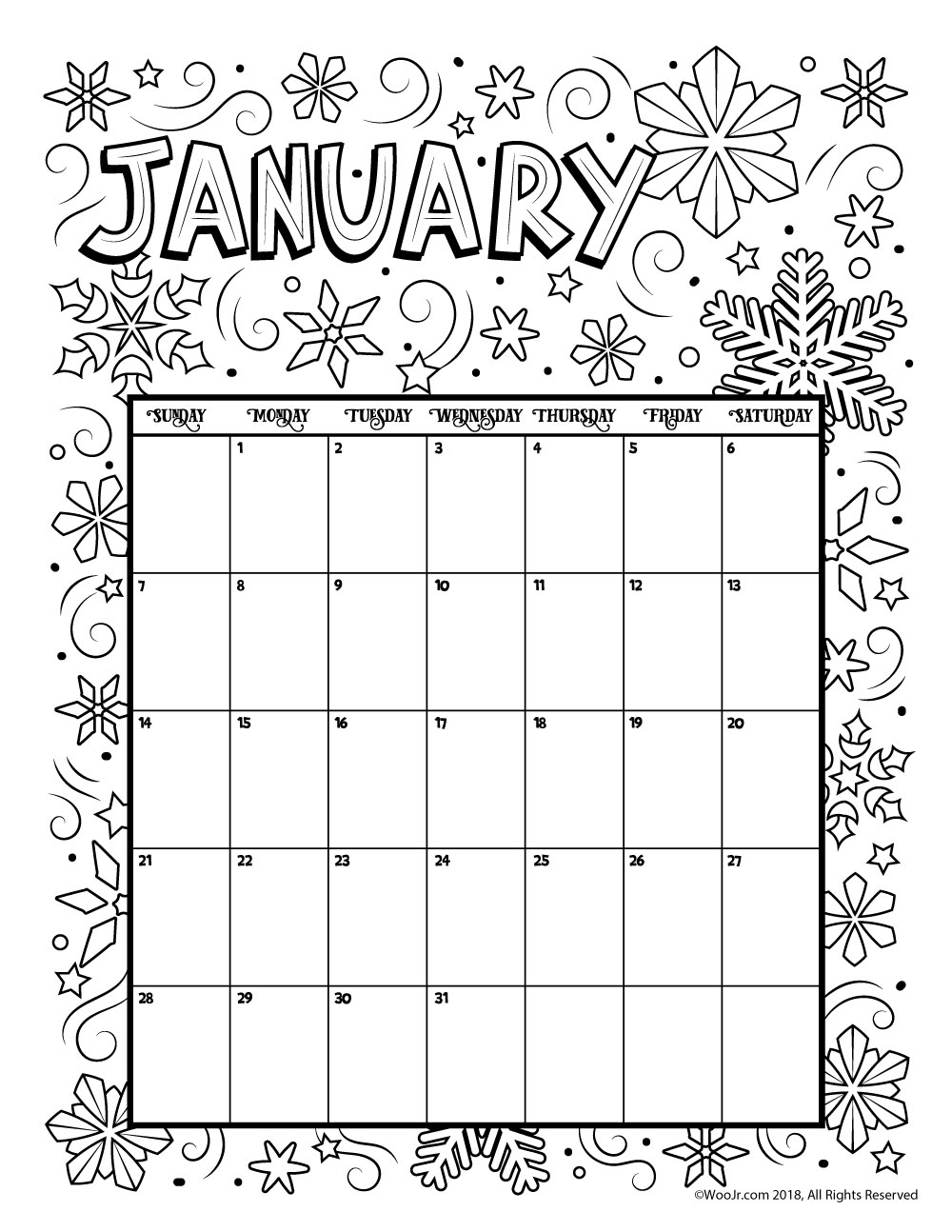 Lovely sample coloring calendar 2018 2019 for Calendar coloring page