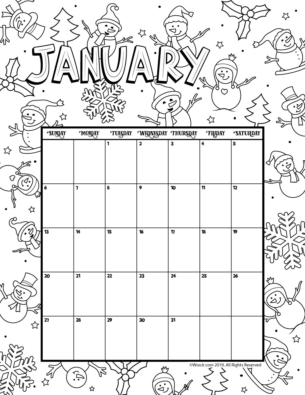 January 2019 Coloring Calendar Woo Jr Kids Activities