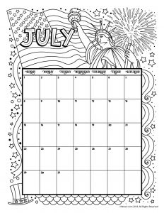 July 2018 Coloring Calendar Page