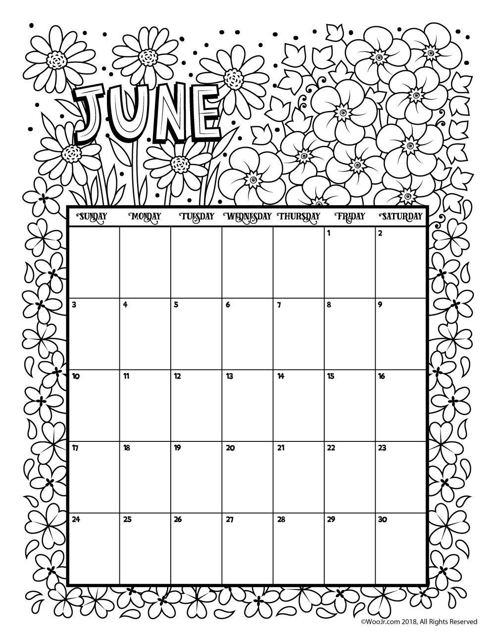 june 2018 coloring calendar page woo jr kids activities