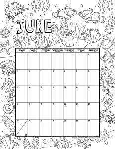 June 2019 Coloring Calendar