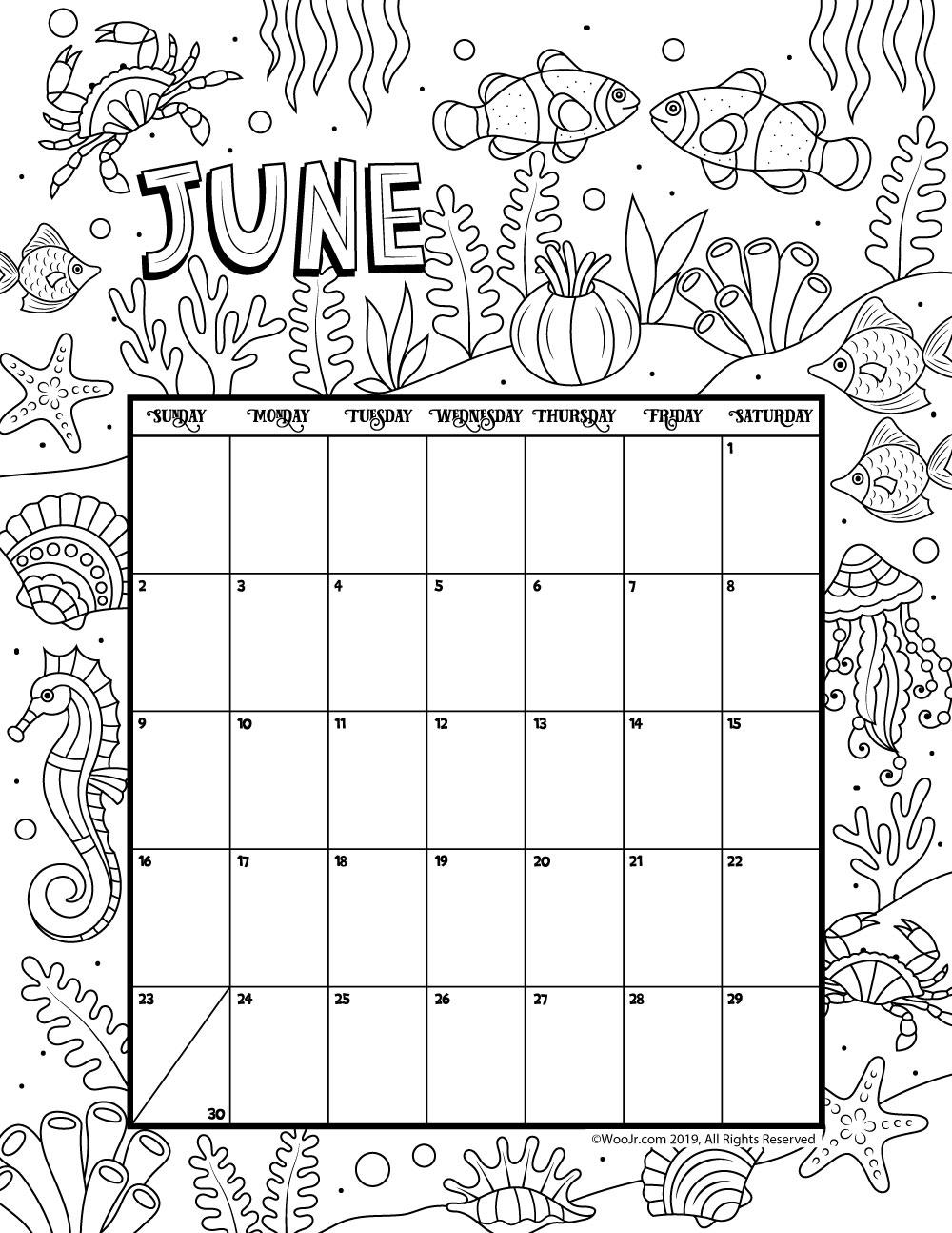 June 2019 Coloring Calendar | Woo! Jr. Kids Activities