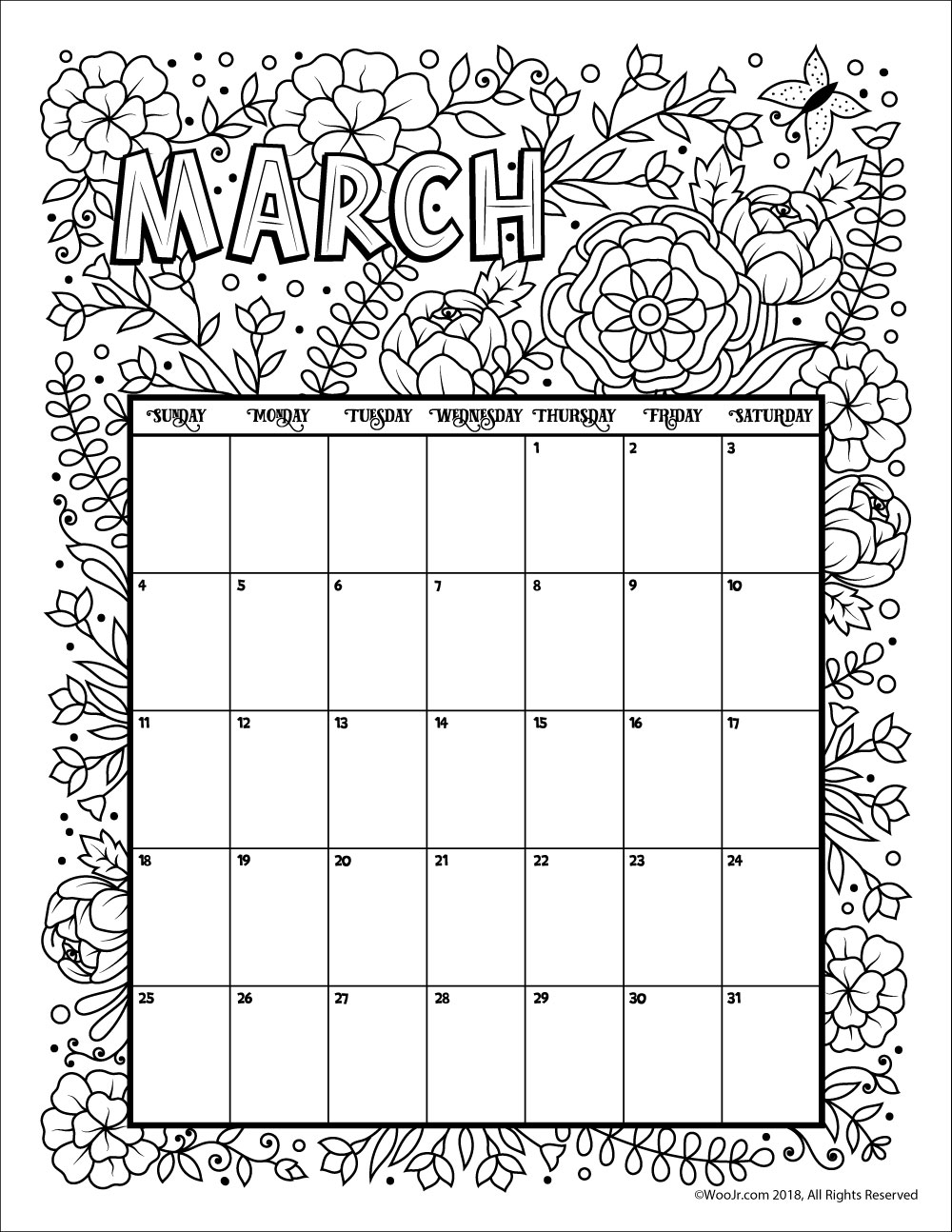 March 2018 coloring calendar page woo jr kids activities for Calendar coloring page