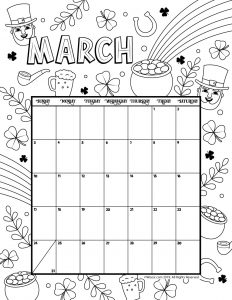 March 2019 Coloring Calendar
