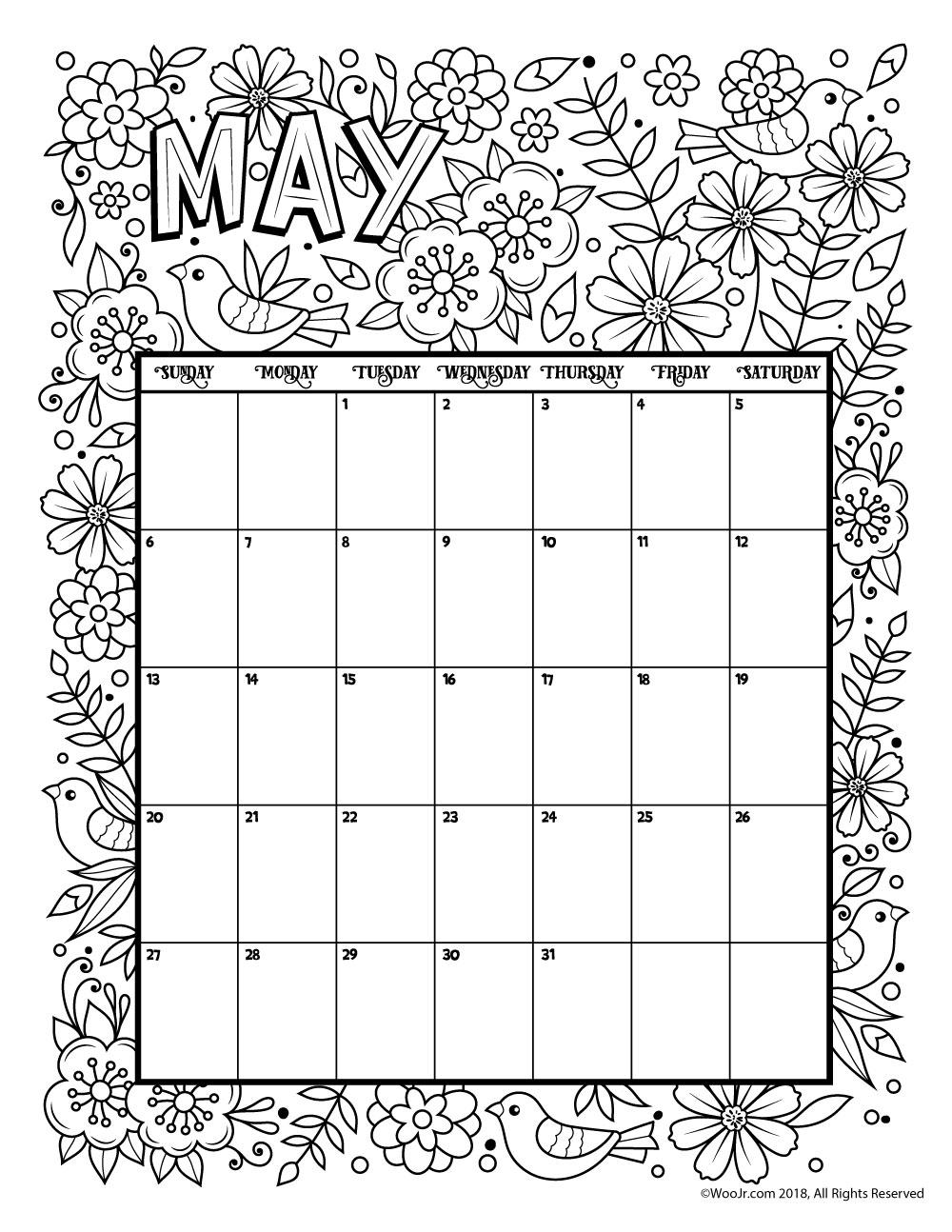 print may calendar 2018