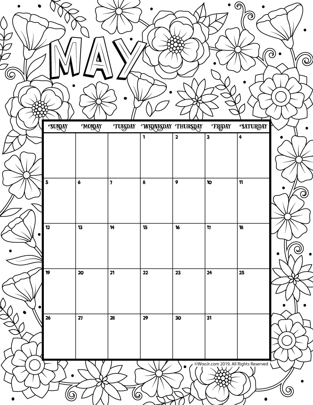 may 2019 coloring calendar woo jr kids activities