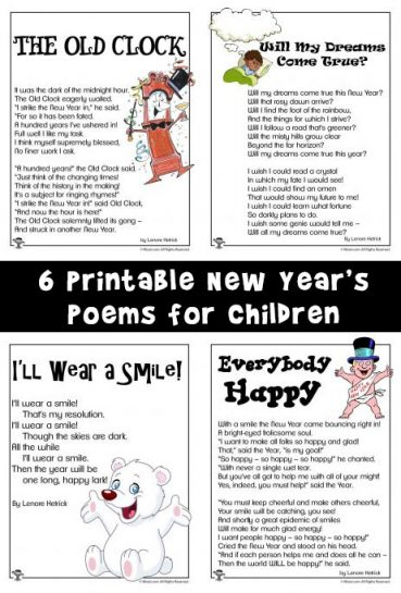 New Year's Poems for Kids