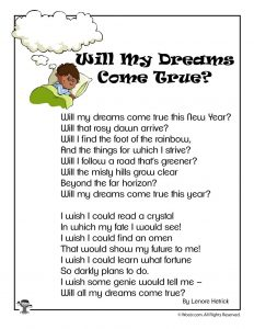 Will My Dreams Come True? New Years Children's Poem