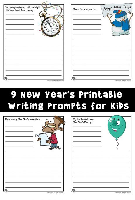 9 New Year's Printable Writing Prompts for Kids