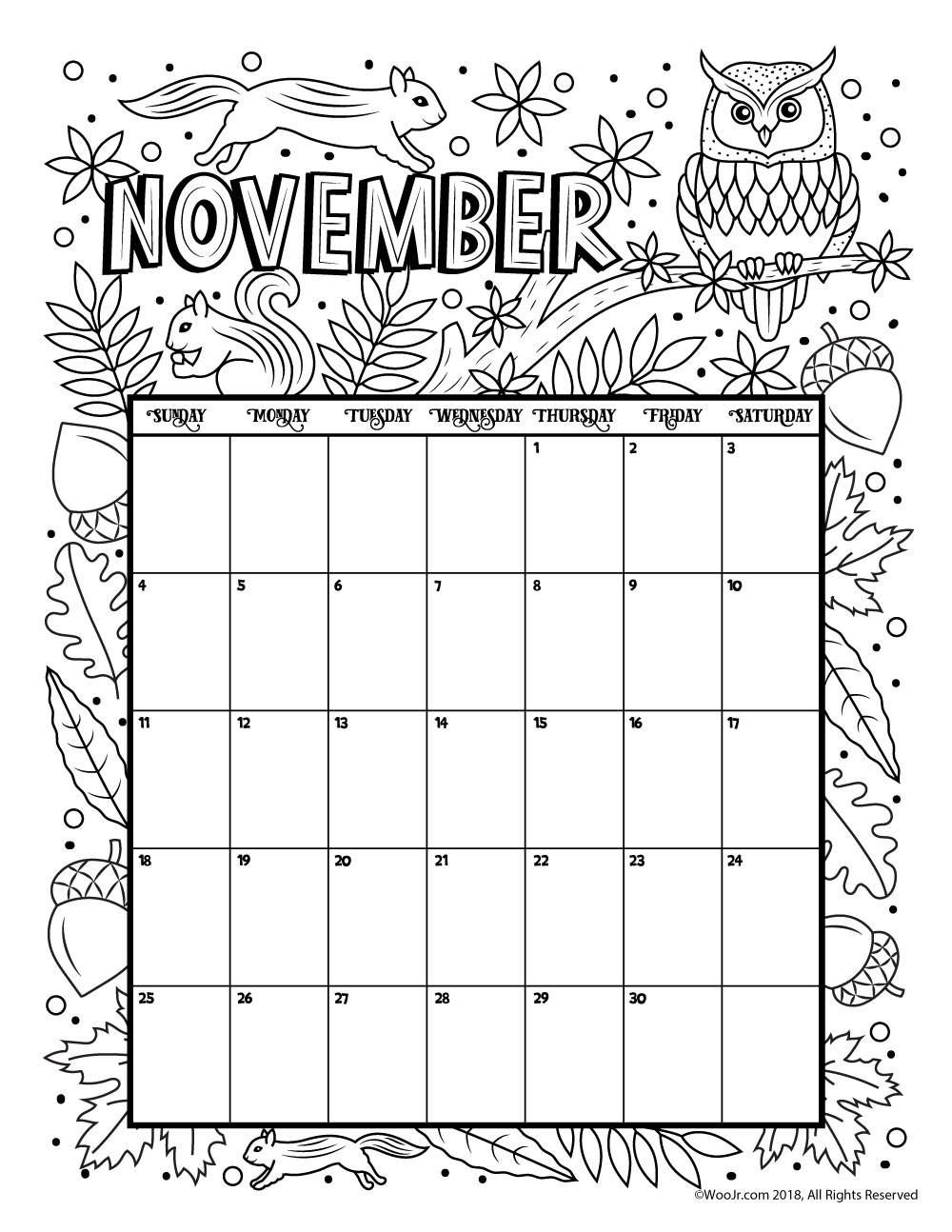 November 2018 calendar free download printables unlimited for Calendar coloring page