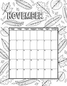 November 2019 Coloring Calendar