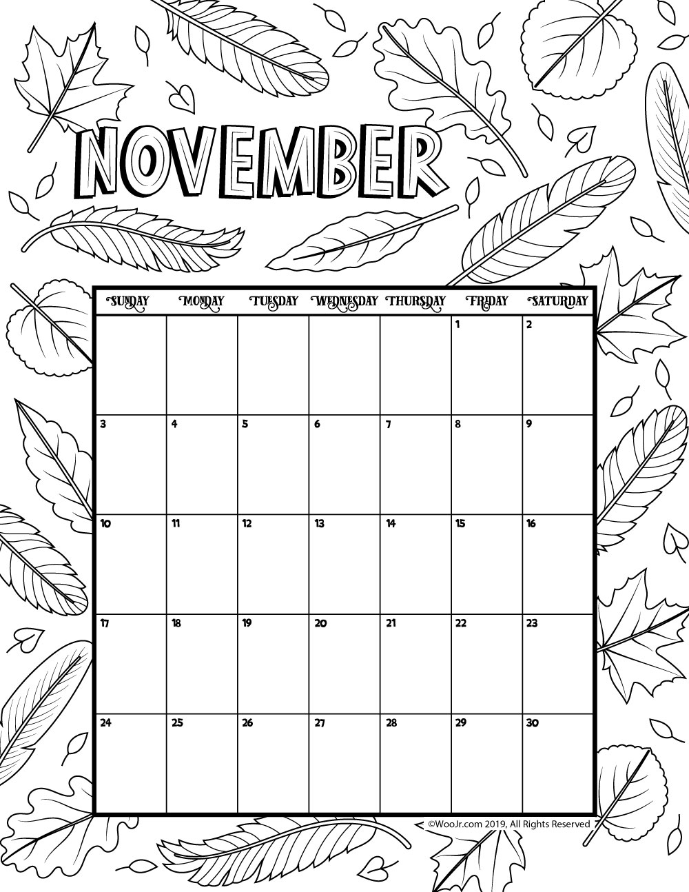 november 2019 coloring calendar woo jr kids activities