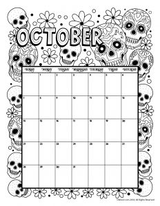 October 2018 Coloring Calendar Page