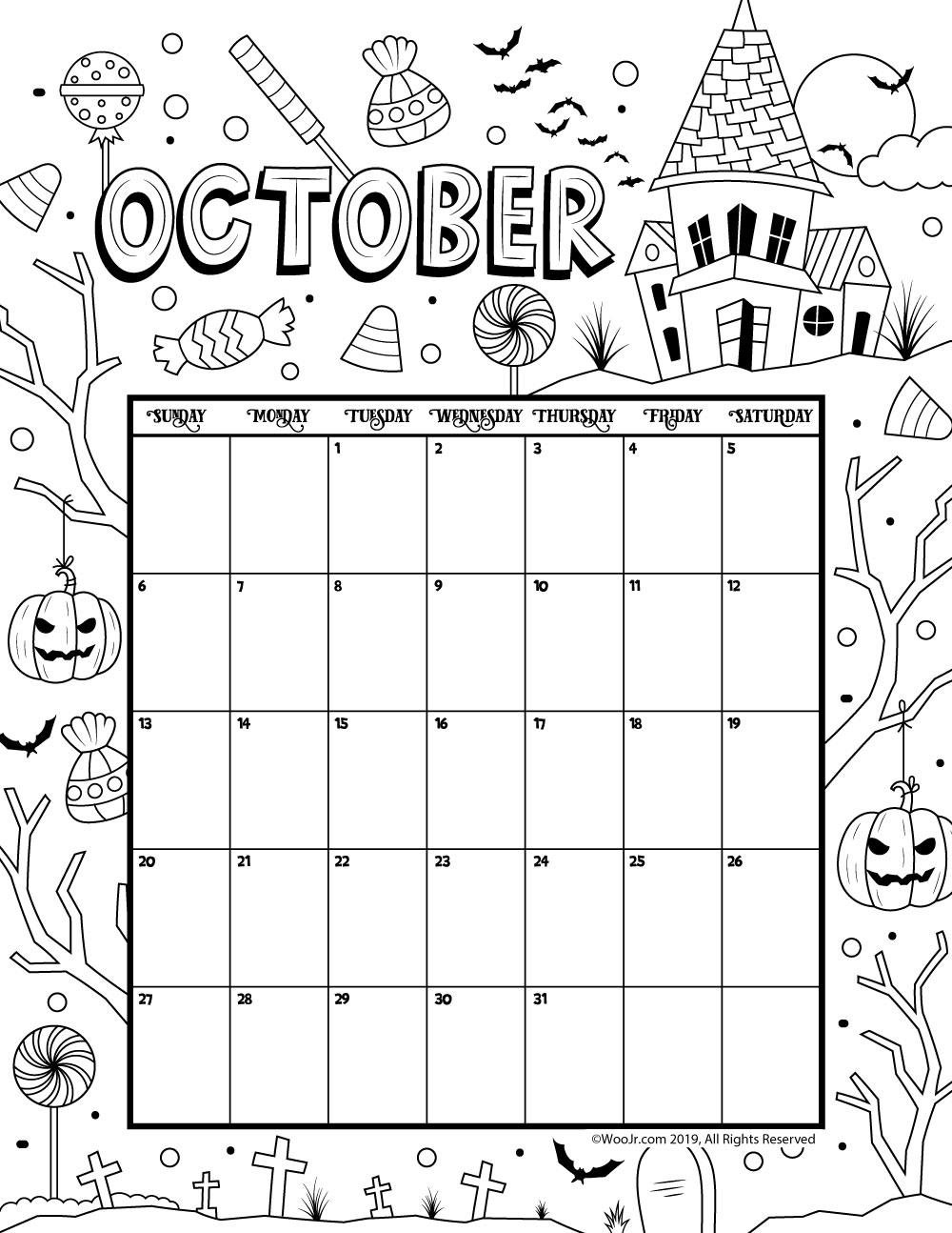 October Calendar 2019.October 2019 Coloring Calendar Woo Jr Kids Activities