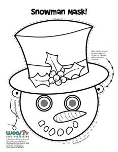 Snowman Printable Mask Coloring Page