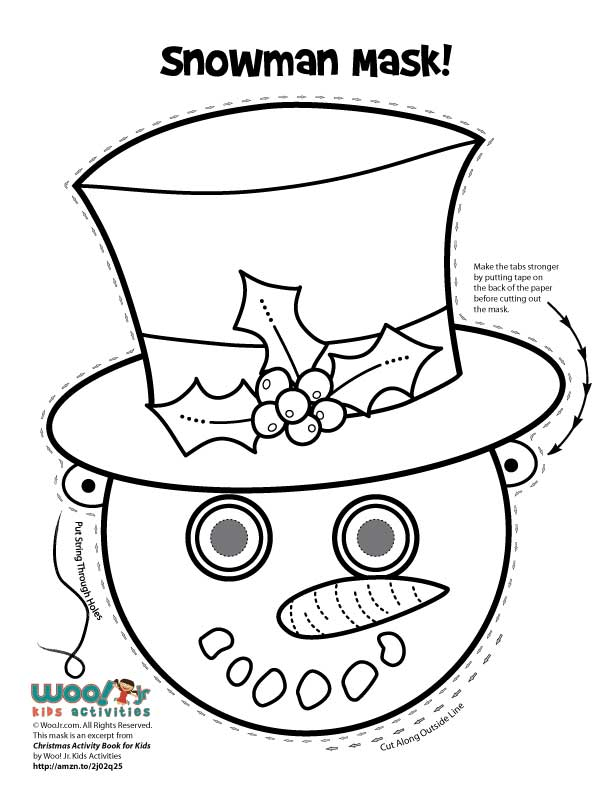 Christmas Printable Masks to Color | Woo! Jr. Kids Activities