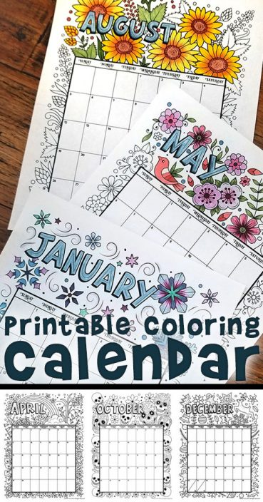 Printable Coloring Calendar for 2019 (and 2018!)