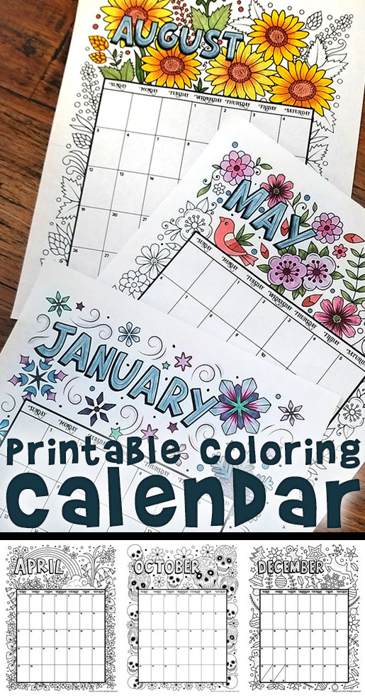Printable Coloring Calendar for 2018 - Woo! Jr. Kids Activities