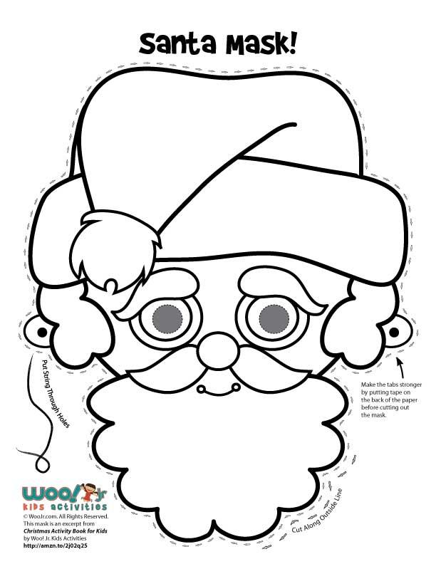 santa claus mask to color woo jr kids activities - Santa Claus Activities
