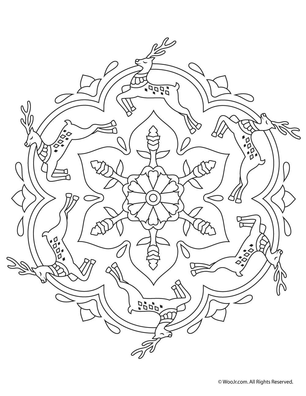 reindeer mandala christmas coloring page woo jr kids activities. Black Bedroom Furniture Sets. Home Design Ideas
