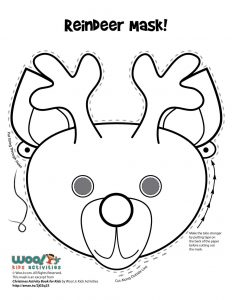 Reindeer Christmas Printable Mask