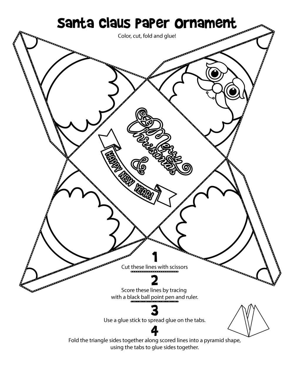 Santa Claus Christmas Ornament Printable - Woo! Jr. Kids Activities