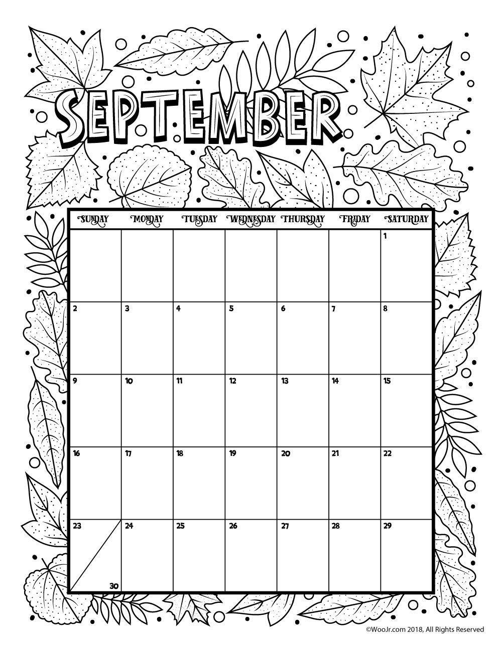 september 2018 coloring calendar page woo jr kids activities