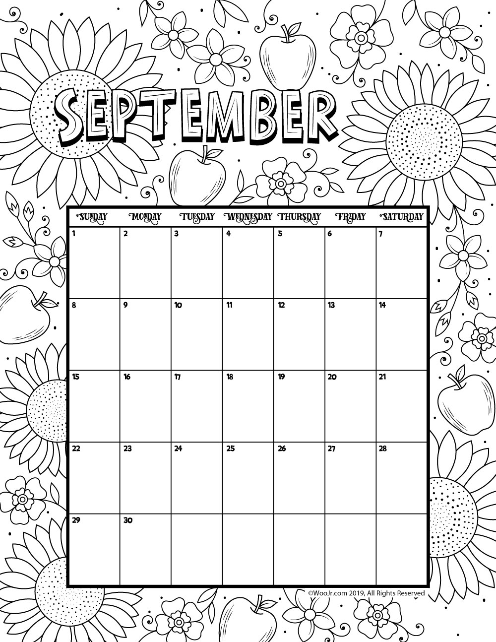 september printable coloring pages - photo#33
