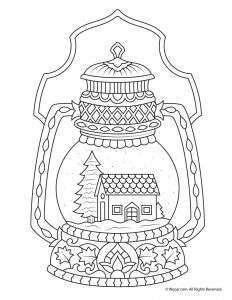 Winter Snow Globe Adult Coloring Page