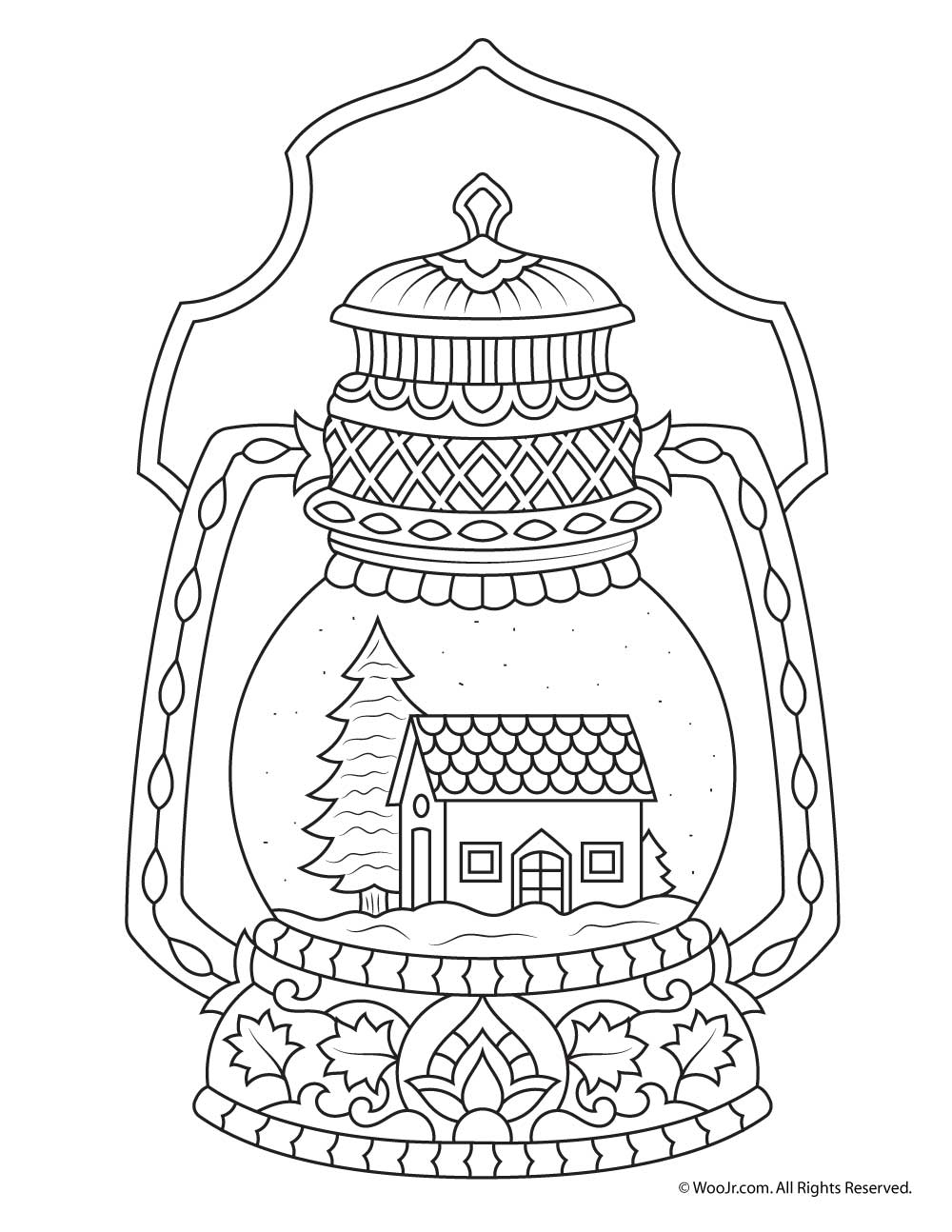 Snow Globe Coloring Page Winter Snow Globe Adult Coloring Page  Woo Jrkids Activities